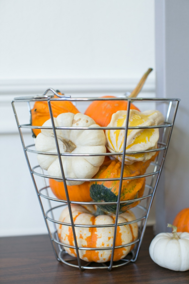 Pumpkins in wire basket