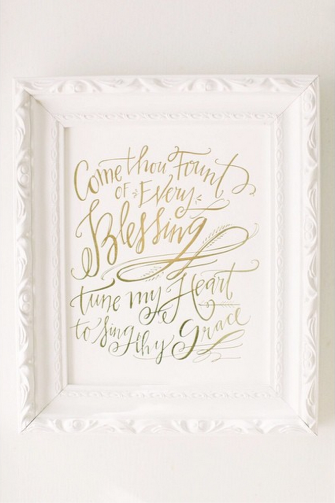 Come Thou Fount Letterpress by Lindsay Letters